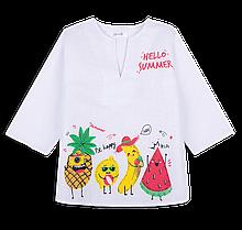 Детская рубашка-сорочка пляжная для девочки *Фрукты* (рр. 92, 104)