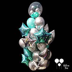 Шикарный фонтан шаров в бирюзово серебристом цвете