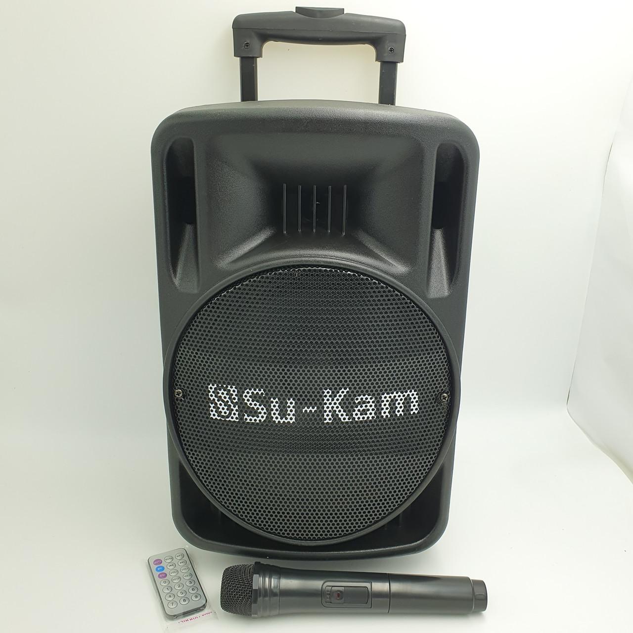 """Акустическая система аккумуляторная колонка 10"""" с радио микрофоном Su-Kam BT100D 500 Вт черная"""