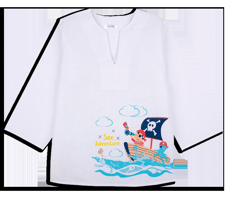 Детская рубашка-сорочка пляжная для мальчика *Пират*