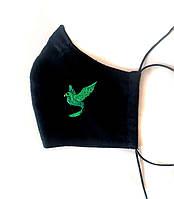 Многоразовая черная защитная хлопковая маска с вышивкой  и зажимом для носа
