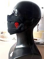 """Многоразовая черная хлопковая маска с вышивкой """"Череп""""  (есть фиксатор для носа)"""