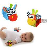 Браслет - погремушка для младенцев на запястье или ногу - Зебра и Жираф (пара)