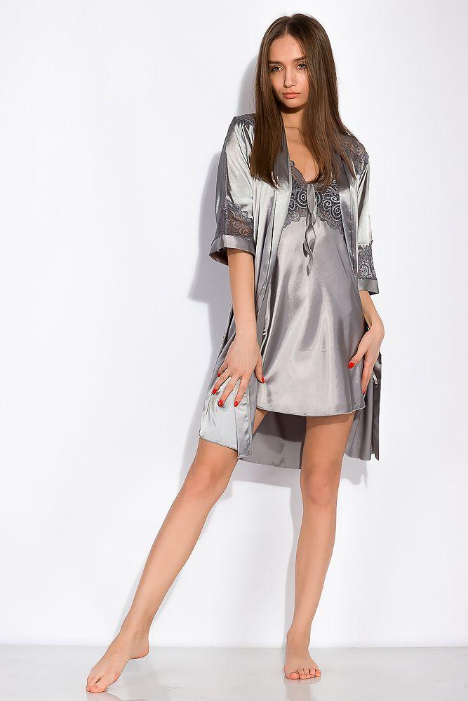 Комплект (ночная рубашка и халат) женский 124P004