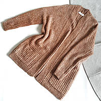 Кардиган вязанный коричневый без застежек