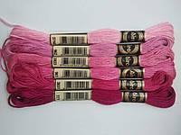 Нитки для вишивання муліне, набір 6 кольорів по 8 м в бордово-рожевих тонах