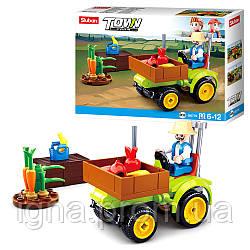 Конструктор SLUBAN M38-B0776 (72шт) трактор 8см, фигурка, 80дет, в кор-ке, 19-14,5-5см