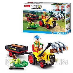 Конструктор SLUBAN M38-B0777 (72шт) трактор с прицепом17,5см, фигурка, 110дет, в кор-ке, 19-14,5-5см