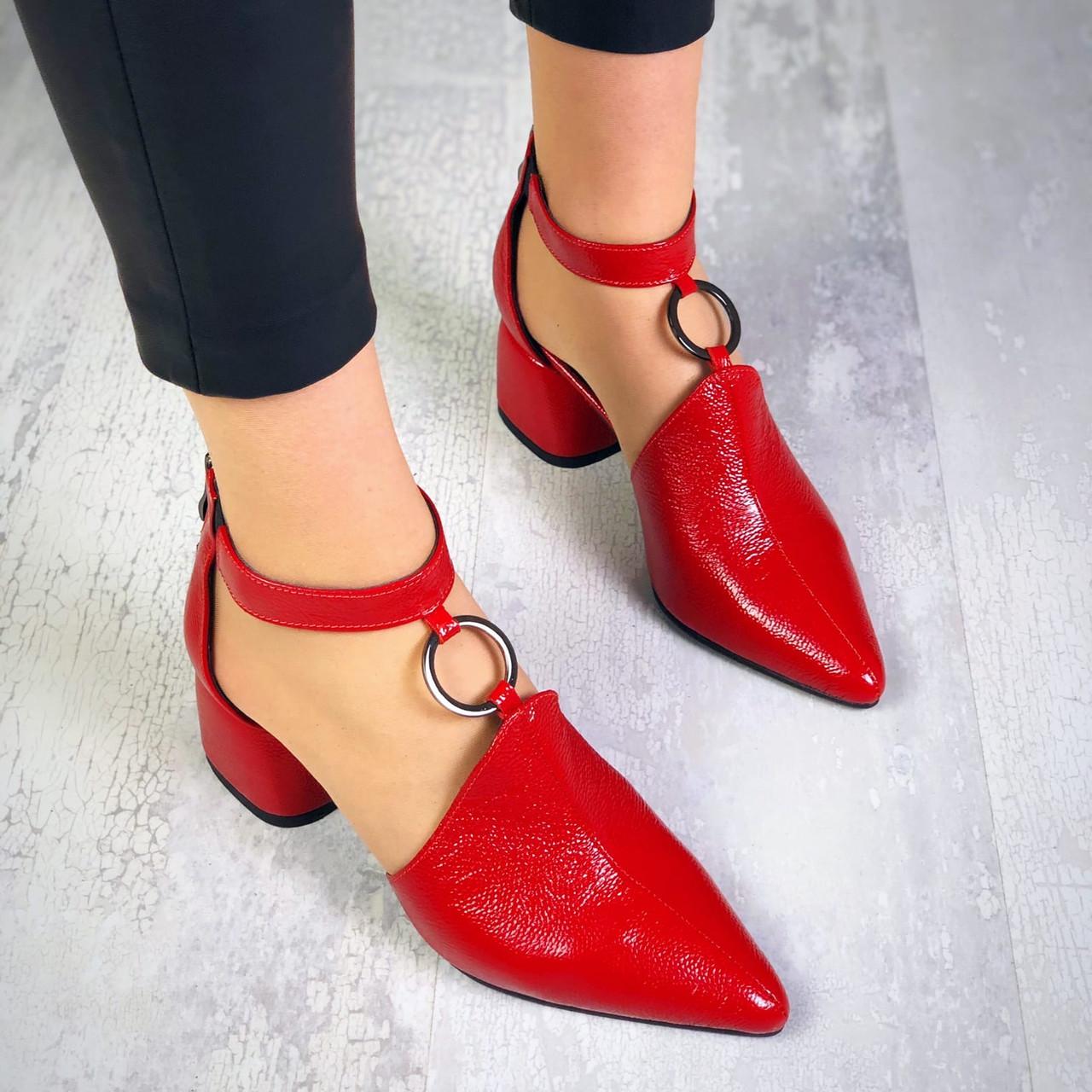Шикарные кожаные туфли на каблучке 36-40 р красный