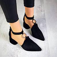 Шикарные замшевые туфли на каблучке 36-40 р чёрный, фото 1