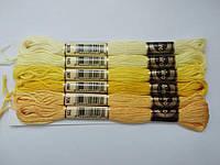 Нитки для вишивання муліне, набір 6 кольорів по 8 м в жовтих тонах