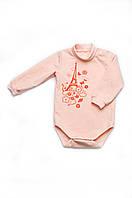 Боди для новорожденной девочки теплый из футера с длинным рукавом
