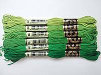 Нитки для вишивання муліне, набір 6 кольорів по 8 м в зелено-смарагдових тонах