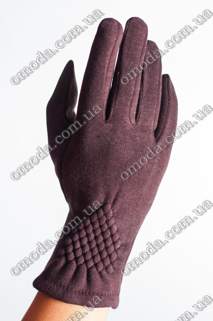 Женские зимние перчатки жатка коричнивые