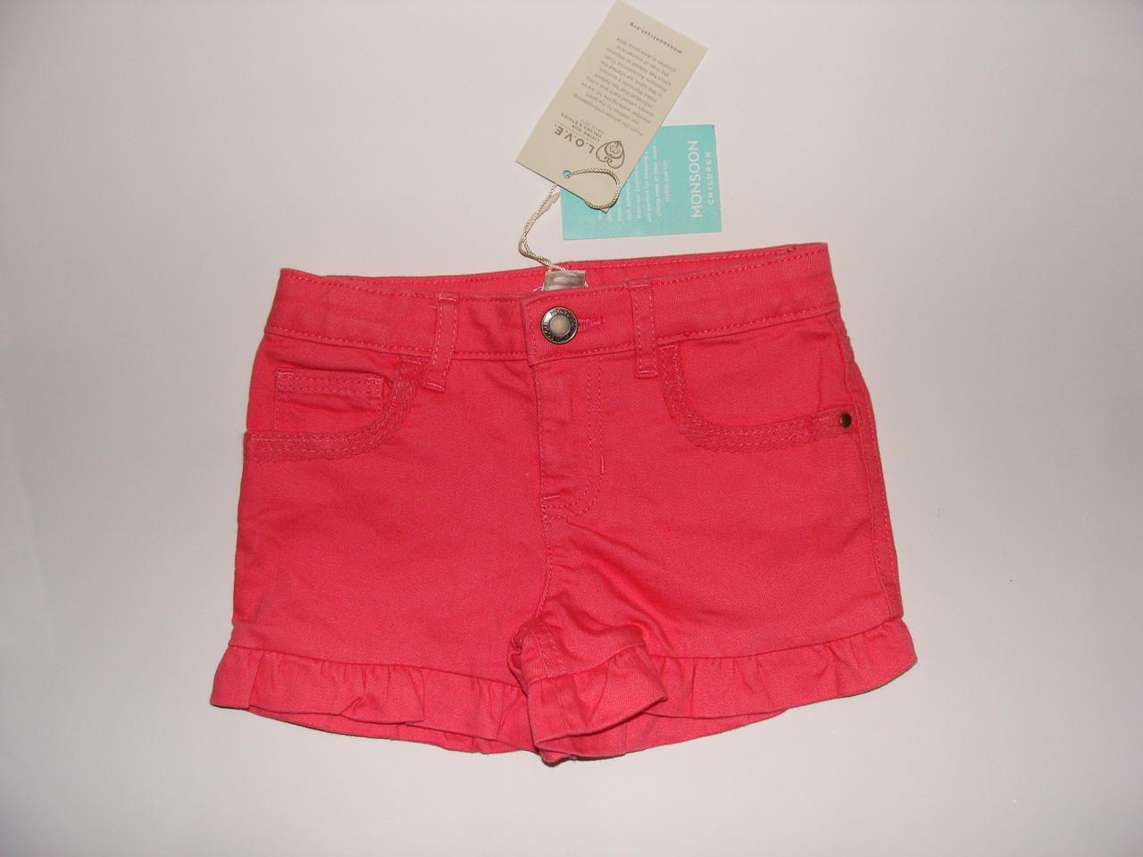 Шорты для девочки джинсовые стрейчевые розовые Monsoon р.104см (4года)
