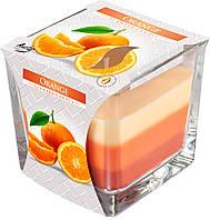 """Ароматическая трехцветная свеча в стекле BISPOL snk80-63 """"Апельсин"""""""