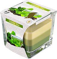 """Ароматическая трехцветная свеча в стекле BISPOL snk80-83 """"Зеленый чай"""""""
