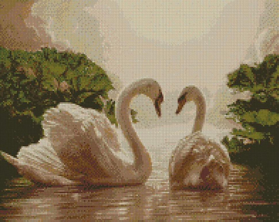 """Алмазная мозаика Идейка """"Пара лебедей"""" 40х50 см AM6135"""