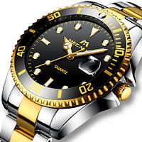 Часы Megalith 0037M Silver-Gold-Black Original точная копия, качество AAA