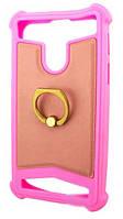 Универсальный Чехол накладка силикон-кожа с кольцом 4.0-4.5'' Розовый