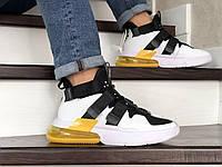 Мужские кроссовки Nike Air Force 270, белые с черным и желтым