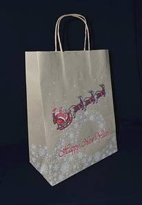 """Пакет подарочный бумажный 26х14х33,5 см., 80 г/м2, 50 шт/уп """"Новогодний сани"""" с кручеными ручками, б"""