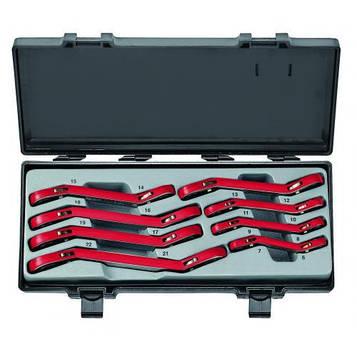 Набор накидных трещоточных ключей отогнутых на 15° 8пред. (6-22мм) Force 50811F
