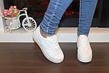 Кеды женские белые на шнуровке Т1007, фото 7