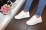 Кеды женские белые на шнуровке Т1007, фото 8