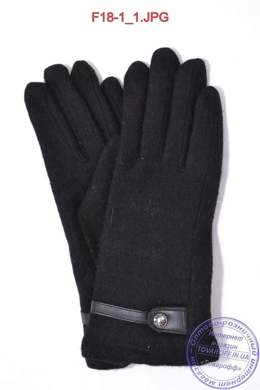 Оптом женские кашемировые перчатки на кролике (мех искусственный) - F18-1