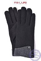 Оптом женские кашемировые перчатки на плюше - F15-1, фото 1