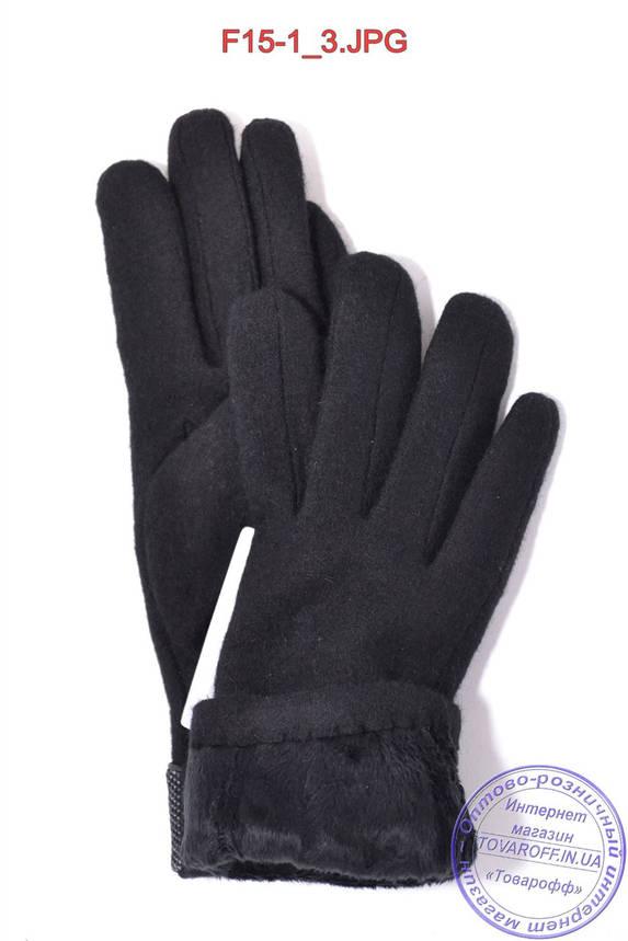 Оптом женские кашемировые перчатки на плюше - F15-1, фото 2