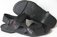 Ecco Black! Мужские сандалии на липучках! Натуральная кожа лето  босоножки Экко, фото 1