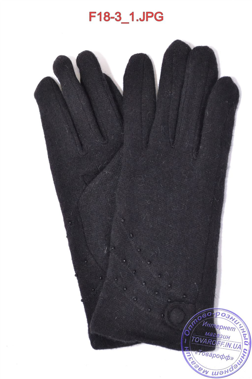 Женские кашемировые перчатки на кролике (мех искусственный) - F18-3