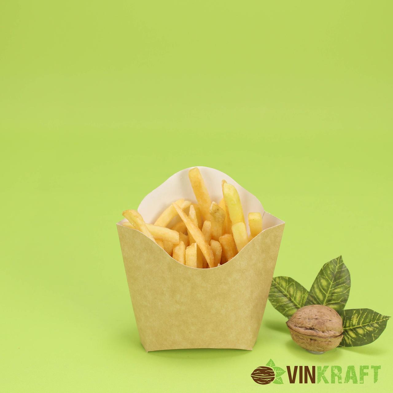 "Упаковка для картоплі фрі ""Міні"" (90г), 70*25*85  крафт"