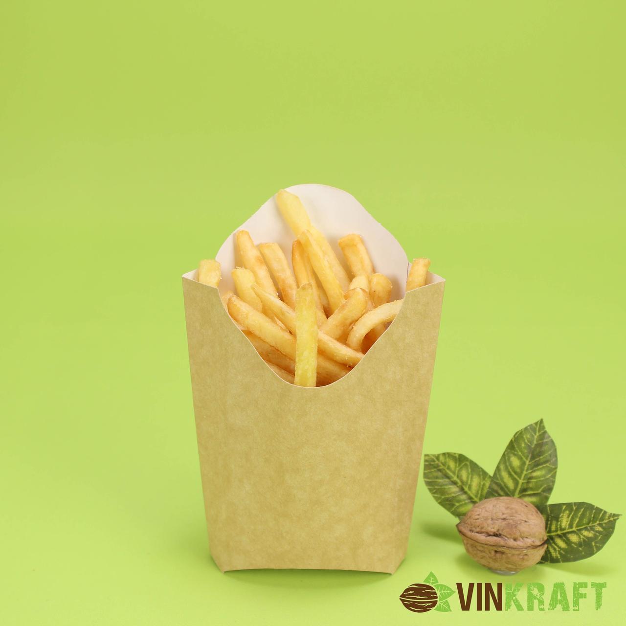 """Упаковка для картоплі фрі """"Миді"""" (120г) 77*25*120 крафт"""