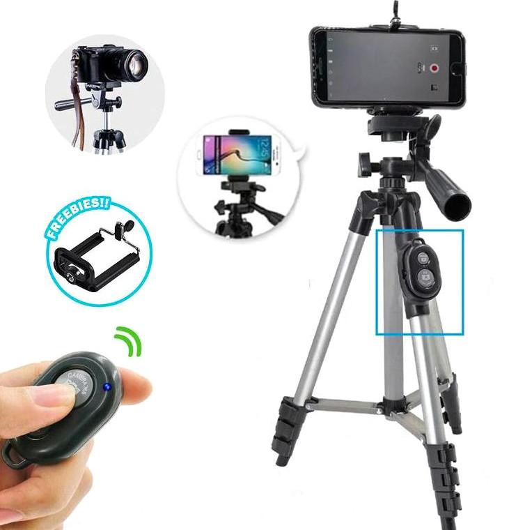 Штатив телескопический для телефона камеры фотоаппарата раскладной портативный с  Bluetooth пультом ДУ 35-102