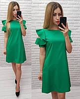 Платье с рюшами, зеленое, арт 783