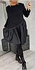 Шикарна жіноча асиметричне плаття великих розмірів, верх двухнитка,плащівка низ, 50-52/54-56/58-60,чорне, фото 2