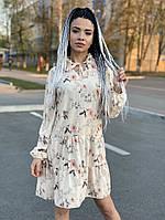 Платье свободного кроя из принтованного софта, фото 1