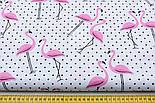 """Лоскут ткани """"Фламинго и чёрный горошек"""" на белом (№1835), разинр 48*80 см, фото 2"""