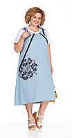 Платье Pretty-1059 белорусский трикотаж, небесно-голубой, 56