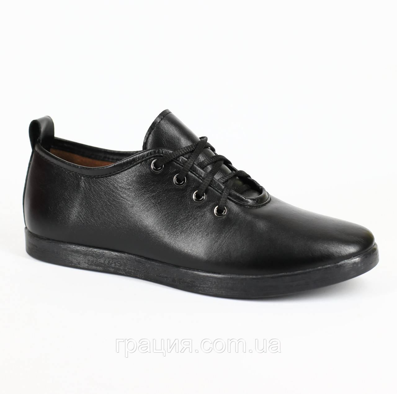 Туфли кожаные женские на шнуровке черные