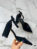 Туфли женские черные эко замша каблук 8 см