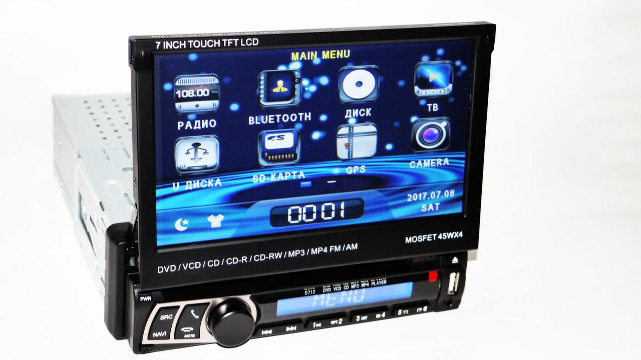 """Автомагнитола 1Din Pioneer 712 с экраном 7"""" (магнитола пионер Отличный звук/30 станций/AUX) + ПОДАРОК!"""