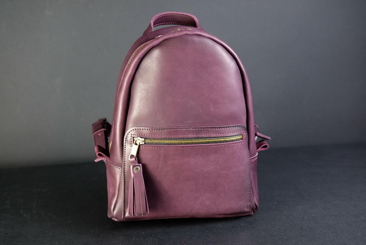 Женский кожаный рюкзак Лимбо, размер мини Итальянский краст цвет бордо