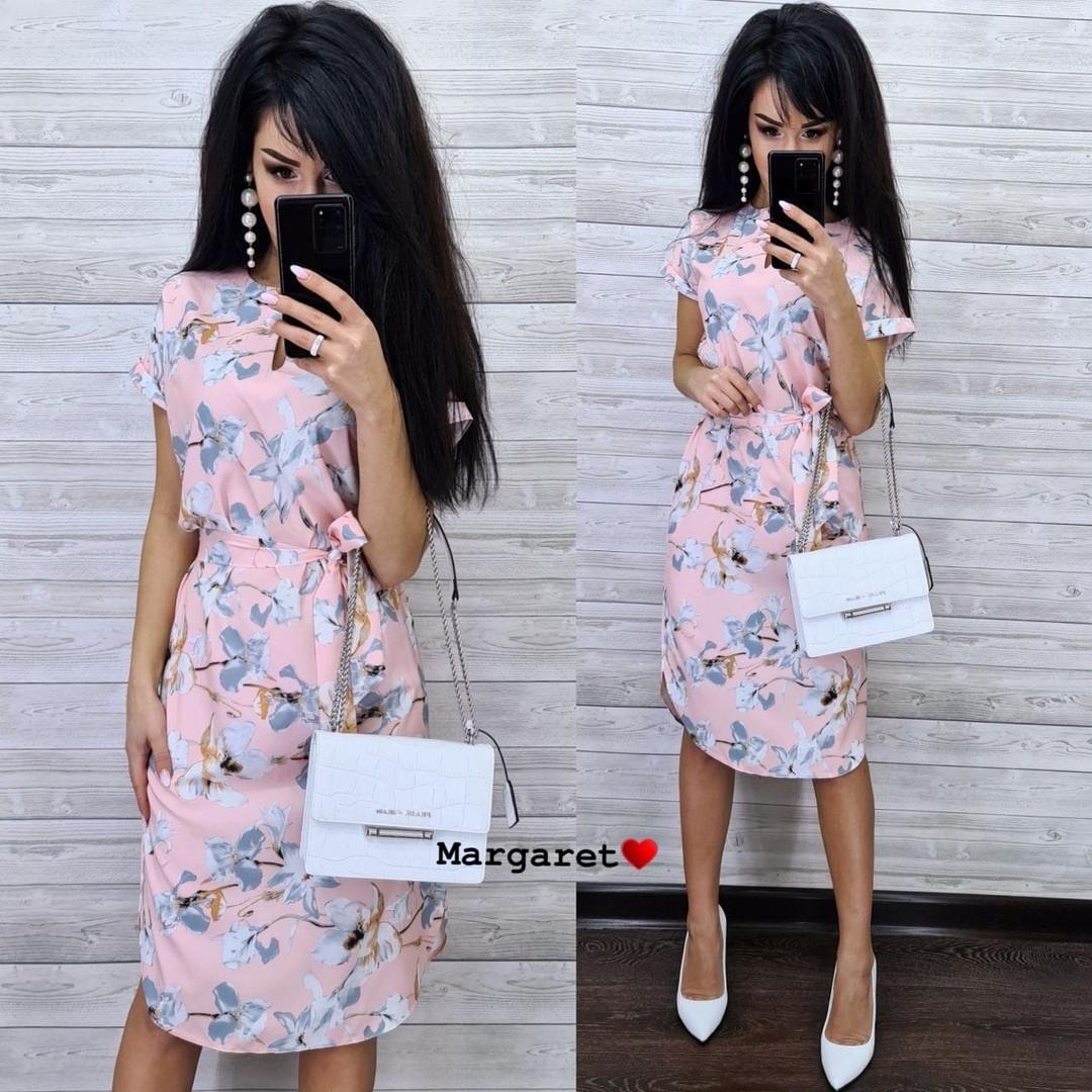 Платье летнее приталенное средней длины цветы на розовом 48-50