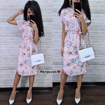 Платье летнее приталенное средней длины цветы на розовом 48-50, фото 2