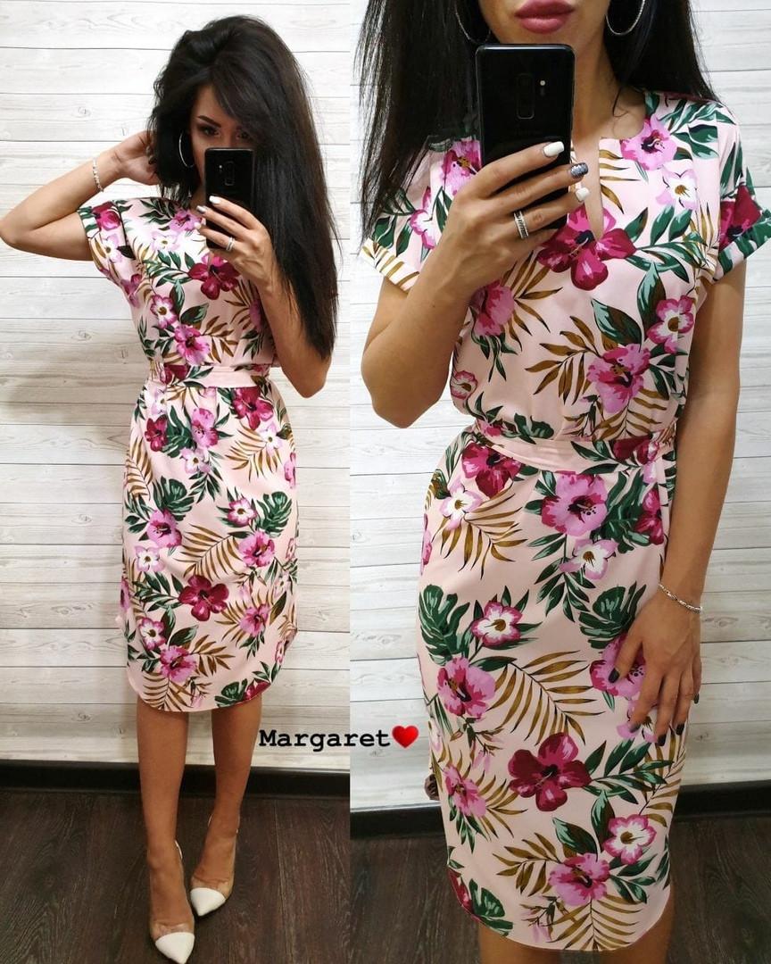 Платье летнее свободное средней длины 48-50