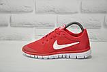Червоні легкі дихаючі кросівки сітка в стилі Nike Free Run 3.0, фото 2